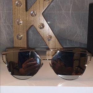 Silver cat eye reflective sunglasses